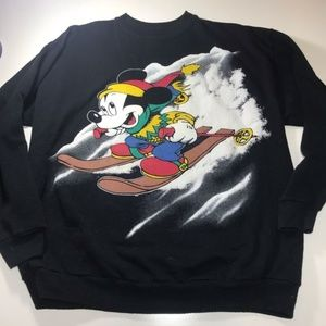 VTG Mickey Unlimited Mouse Skiing Sweatshirt XL